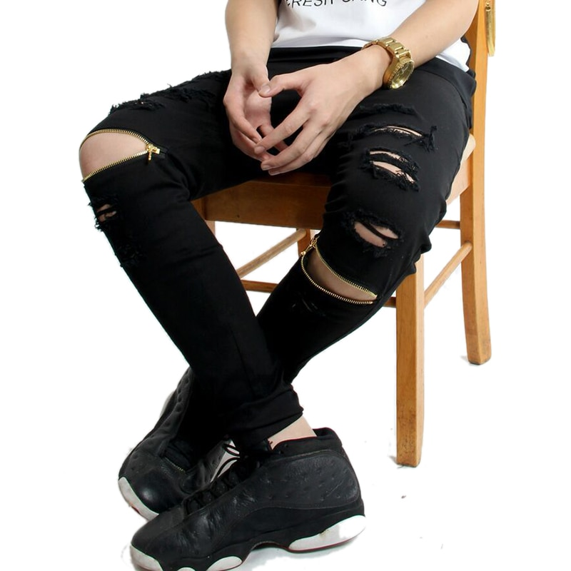 Hi-Street For Men Ripped Biker Jeans Motorcycle Skinny Slim Fit Black