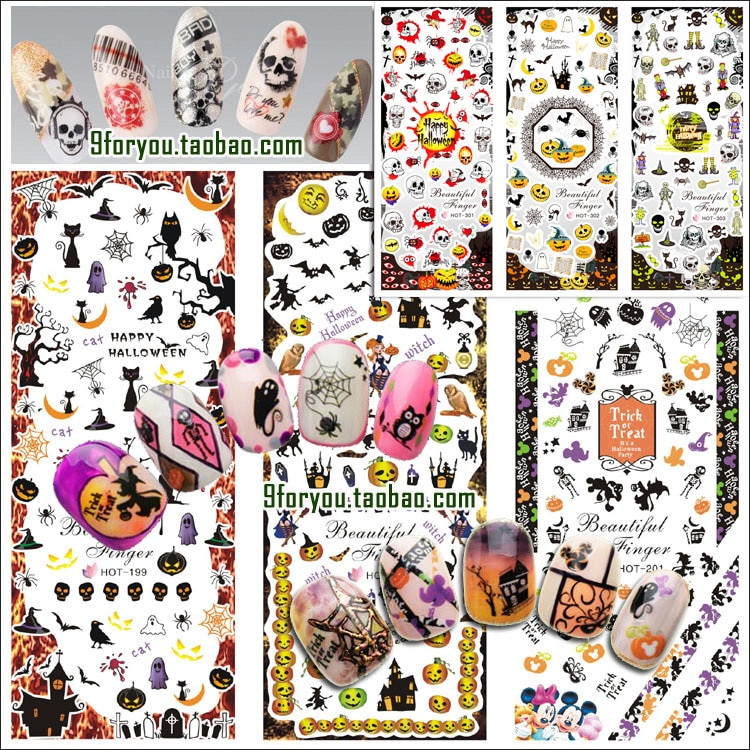 6 Sheets/lot Nail Art Tips Halloween Water Transfer Decal Stickers All
