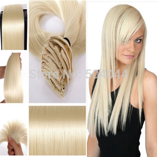 #613 lightest blonde  Long Straight Synthetic Hair Clip in on hair ext