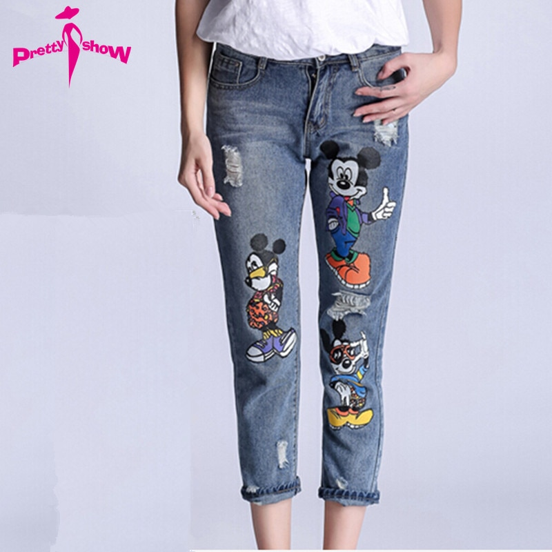 2017 Spring Fashion Women Jeans Boyfriend Style Print Mickey Ladies Ca