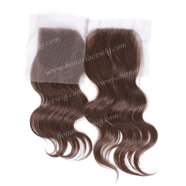 "human indian hair lace closures in stock 4'x4"" dark brown color hair"