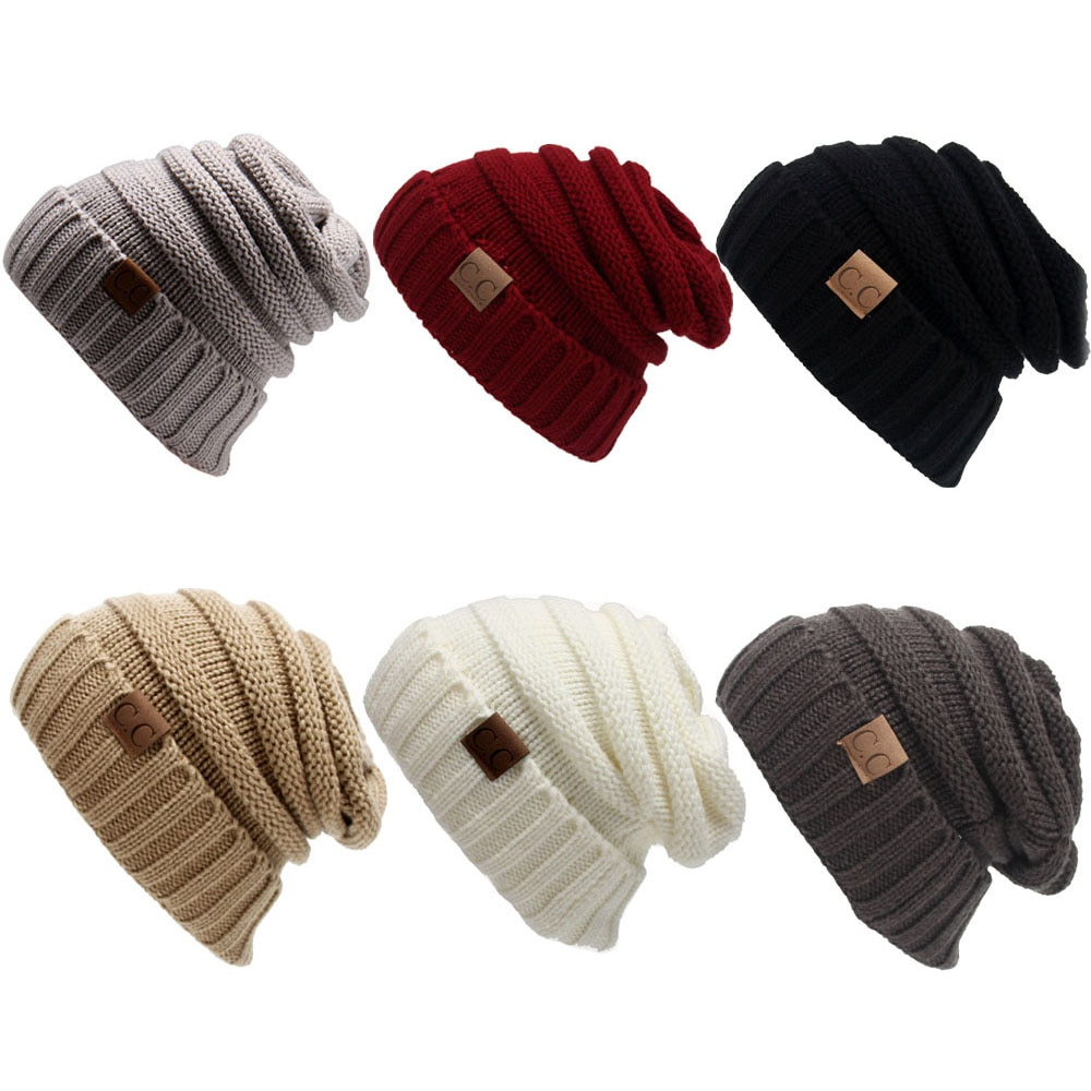 Autumn Winter Warm Knitted Woolen Beanies Caps For Man And Women Solid