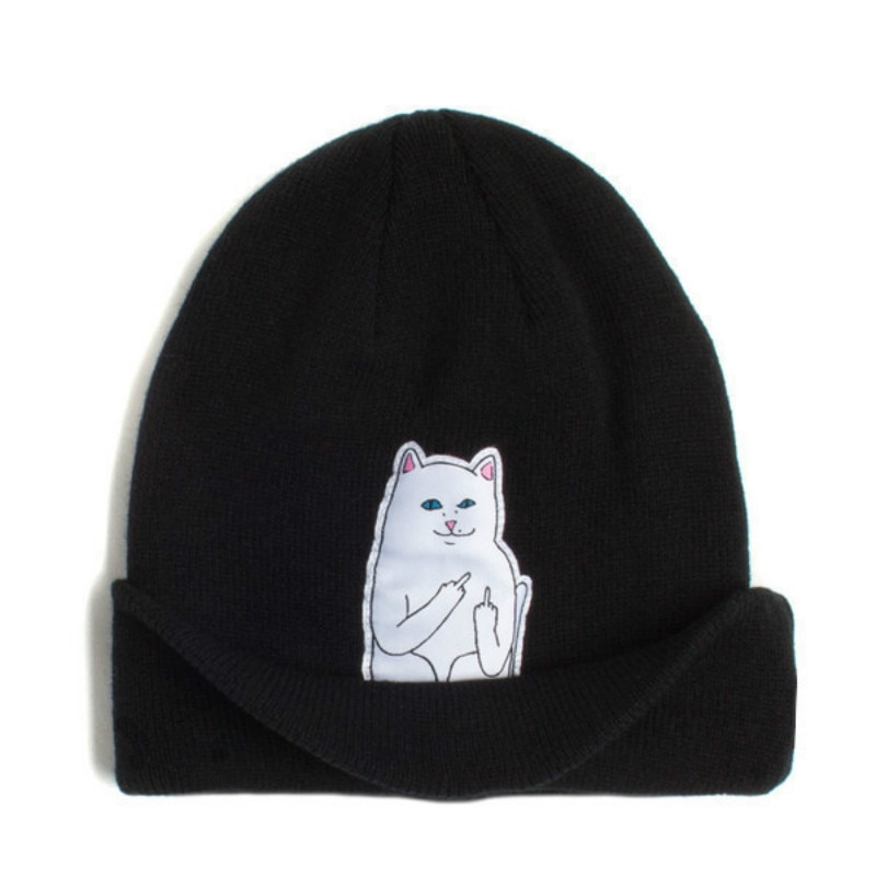 Autumn and Winter Men and Women Funny Cat Pattern Embroidered Wool Cap