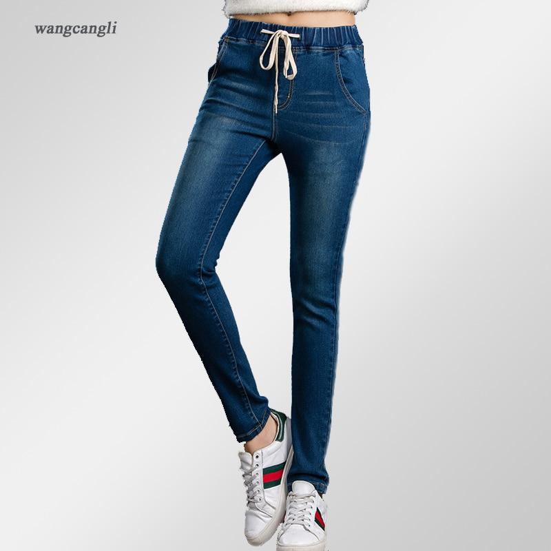 and Autumn high waist jeans Cotton Slim Straight jeans Blue stretch el