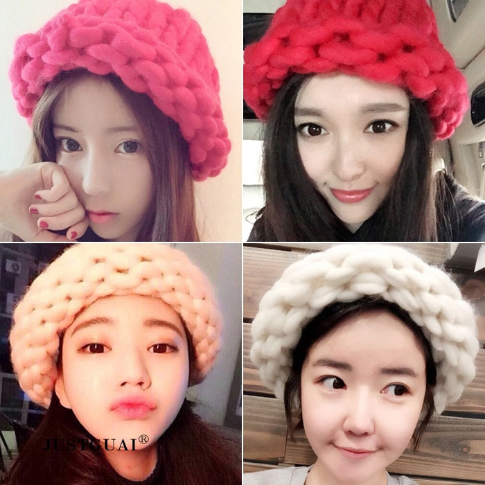 2017 New The Korean Version Fashion Knitting Wool Caps Woman shag line