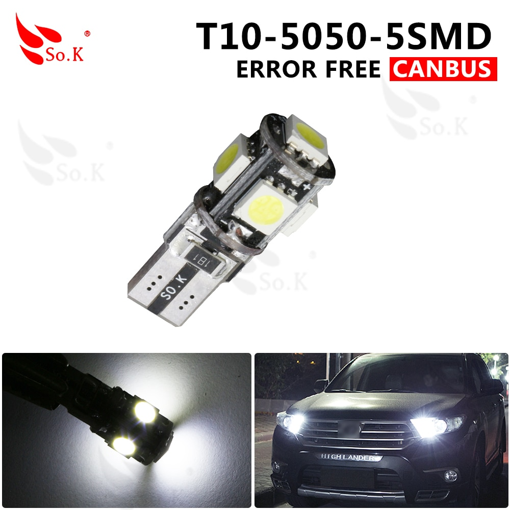 High Quality White 10x T10 5smd 5050 Led Car Light W5w 194 Error free