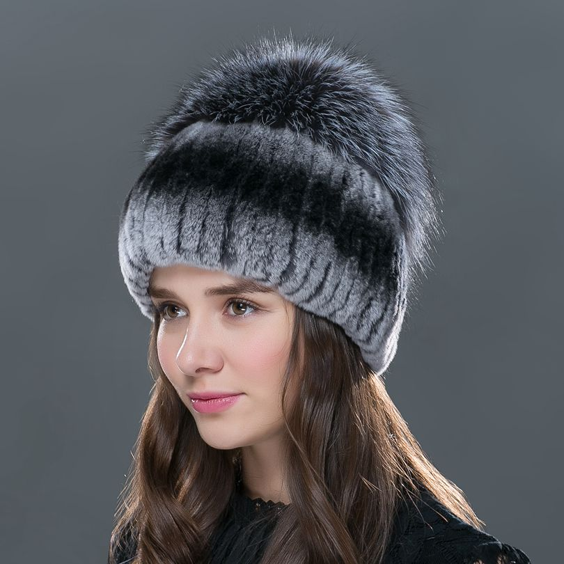 2016 new fashion  women winter   hat for   with fox fur top female ela