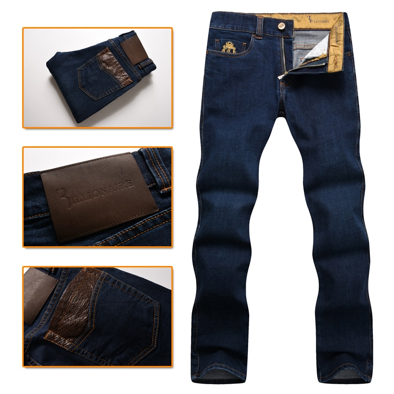 couture men's jeans 2016 New embroidery casual comfortable Genuine Lea
