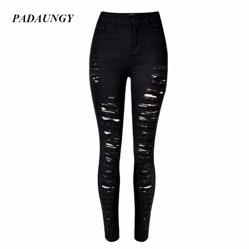High Waist Jeans Hole Ripped Pantalon Femme Slim Pencil Pants Denim Tr