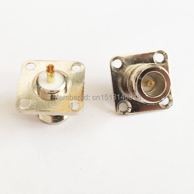 N type N Female Jack  RF Coax Connector 4-hole panel mount solder cup