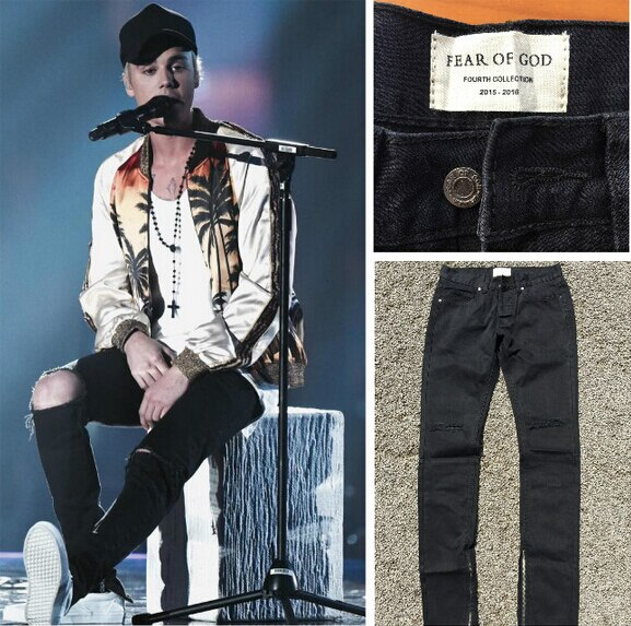 2016 Fear of God FOG zippers skinny slim fit mens Distressed justin bi