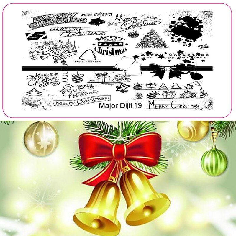 & Christmas Festival Patterns Xmas Nail Art Stamping Plates DIY Manicu