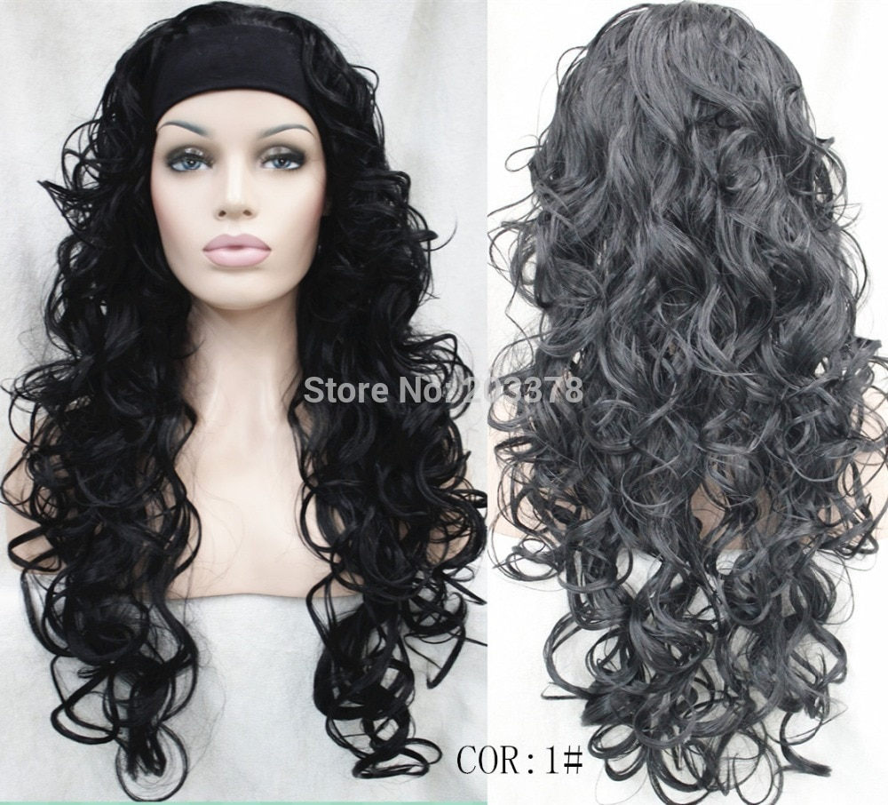 Half wig 3/4 wigs With headband Long Curly black half wig Heat Resist