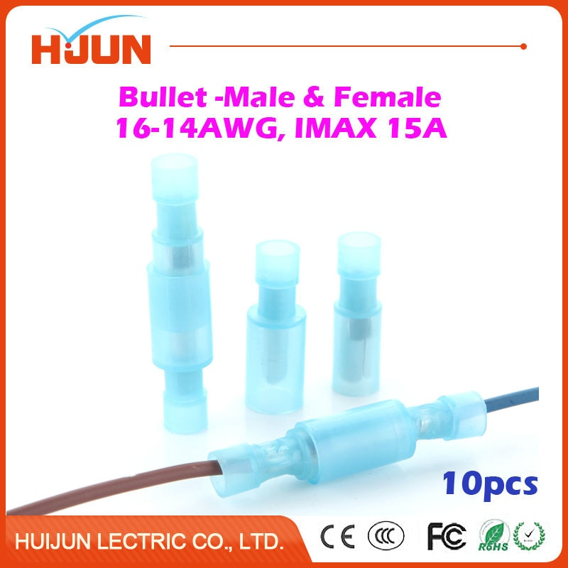 &  Bullet-Female Blue Quick Disconnect Wire Splice Insulation Terminal