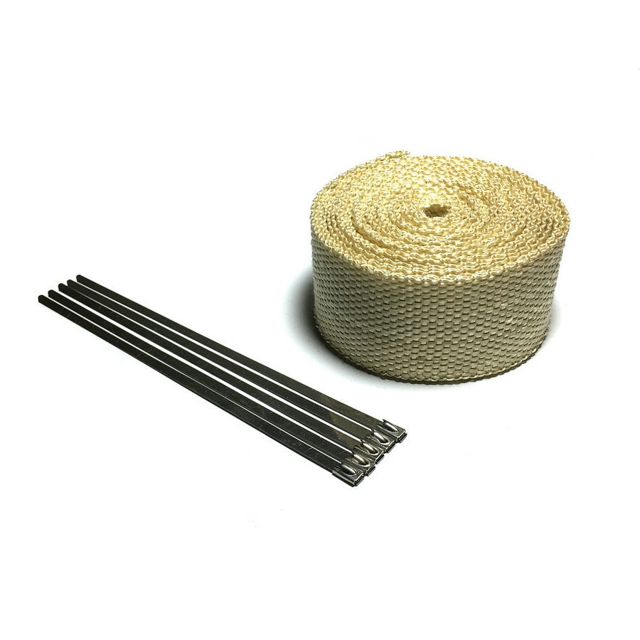 Beige Exhaust Muffler Pipe Header Heat Resistant Exhaust Wrap With St