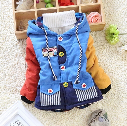 2014 new children clothing patchwork boys cool winter warm jacket kids