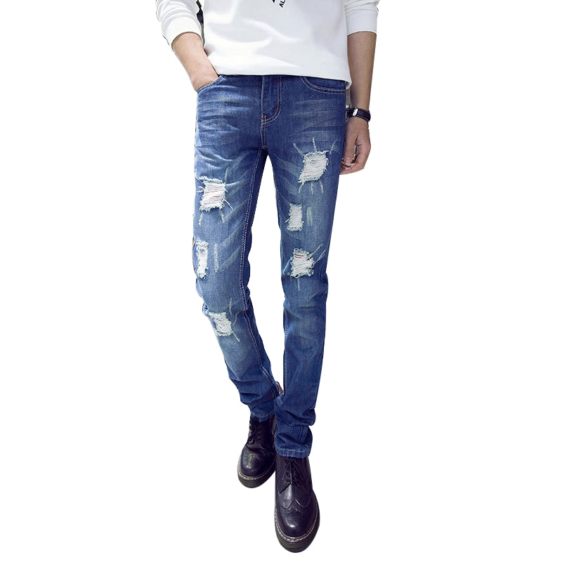 Arrival Blue Elastic Men Ripped Jeans Slim Fit Straight Denim Pants Ch