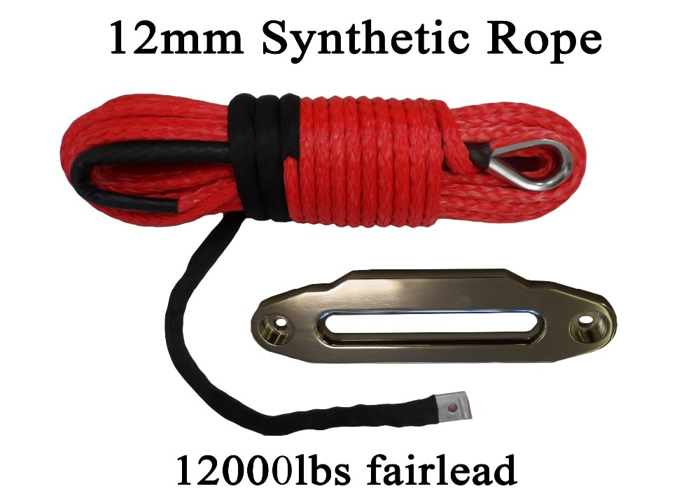 Plasma Winch Cable with 12000lbs ATV Fairlead,Synthetic Winch Rope ,W