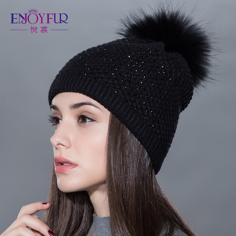 hat for Women real wool knitted  fluffy pompom caps 2016 new arrival c
