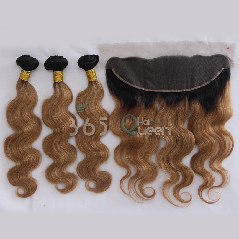 #1B/30 Peruvian Virgin Hair Body Wave Bundles With Ear to Ear 13x4 Lac