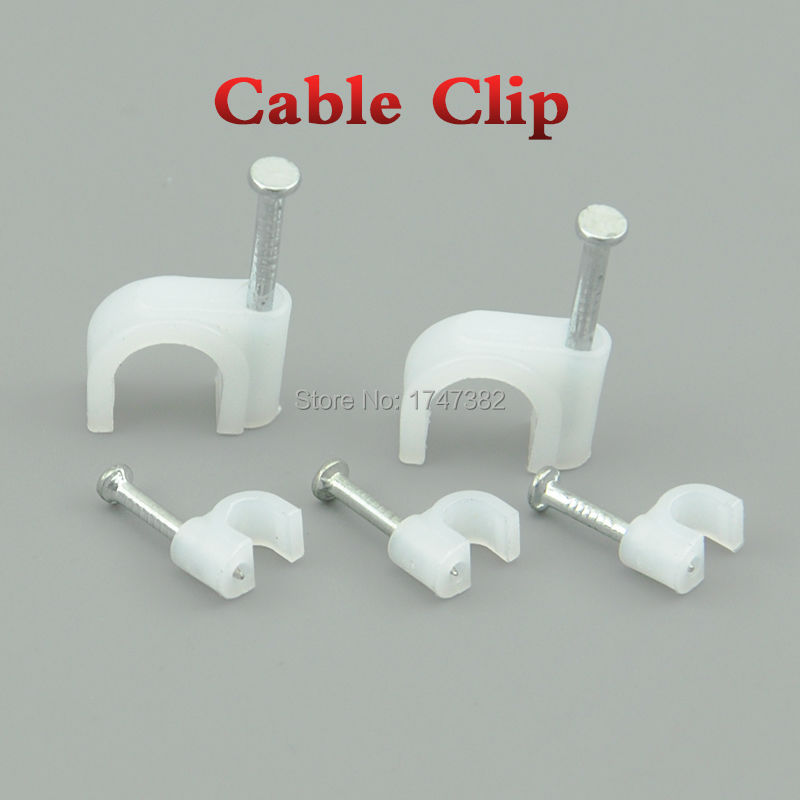 Round Steel Nail Cable Wire Wall Hanging Screw Clips Cable Clip For R