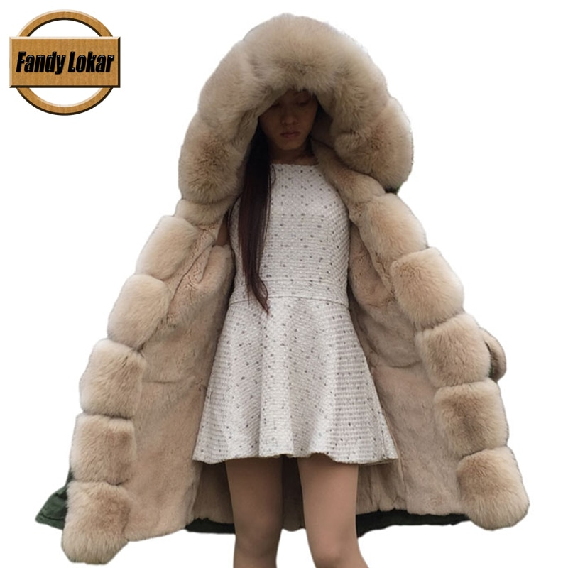 2016 Real Rex Rabbit Fur American Military Parka with Hood Long Women