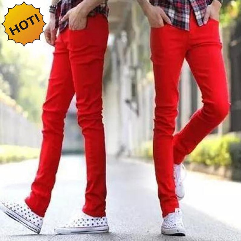 2016 Fashion Casual Solid Red Cuffed Leg Jeans Men Skinny Stretch Teen