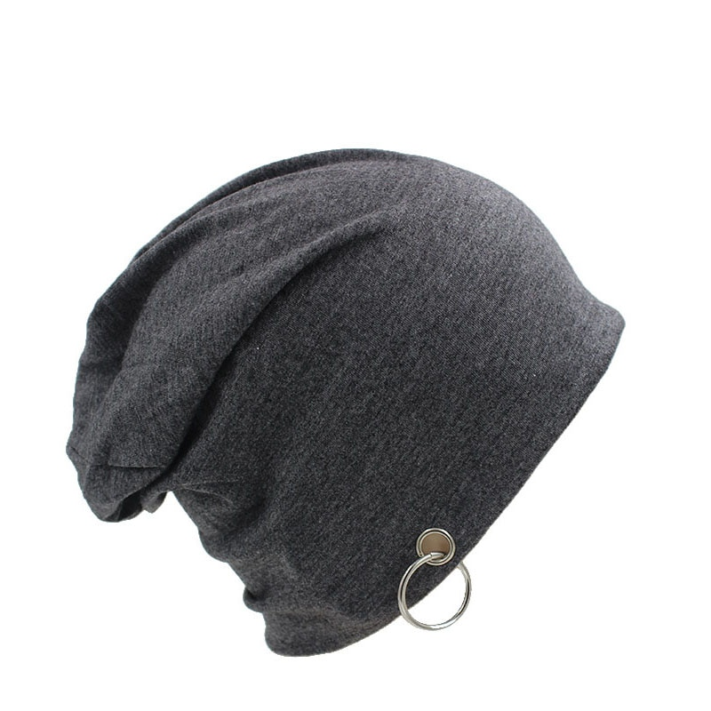 Adult Novelty Solid Men Women Autumn Beanie With Ring Hip Hop New Casu