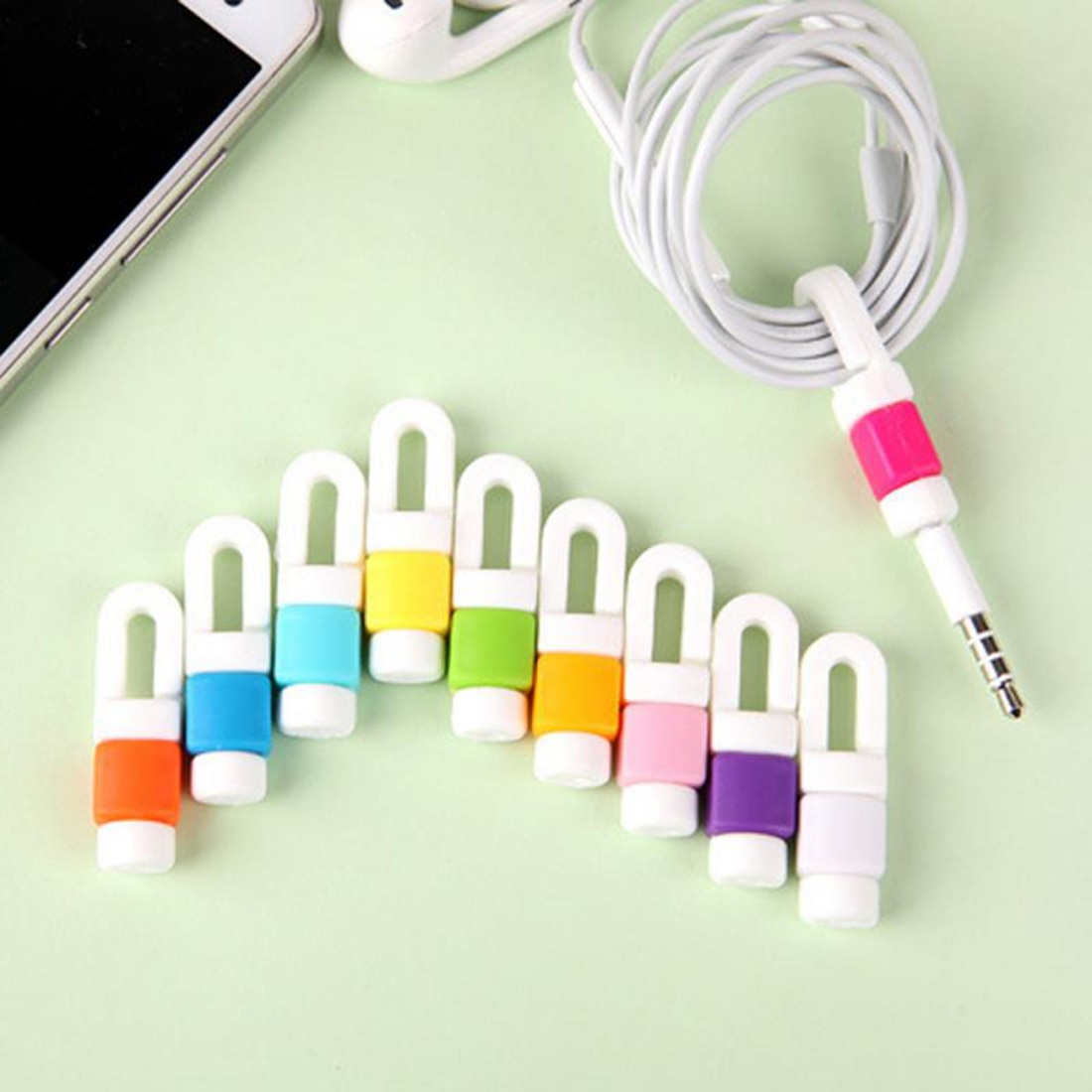 10pcs Portable Original USB Cable Earphones Protector Colorful Cable