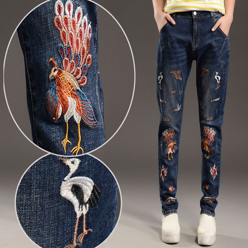 fall and winter clothes embroidered jeans female harem pants feet was