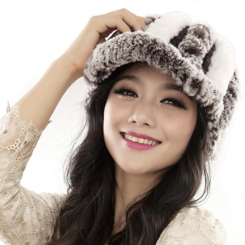 Female Rex Rabbit Fur Knitted Hat Women Handmade Warm Caps Beanies Hea