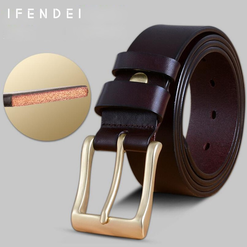 's Belt Luxury Genuine Leather First Layer Belts Waist Casual Brass Pi