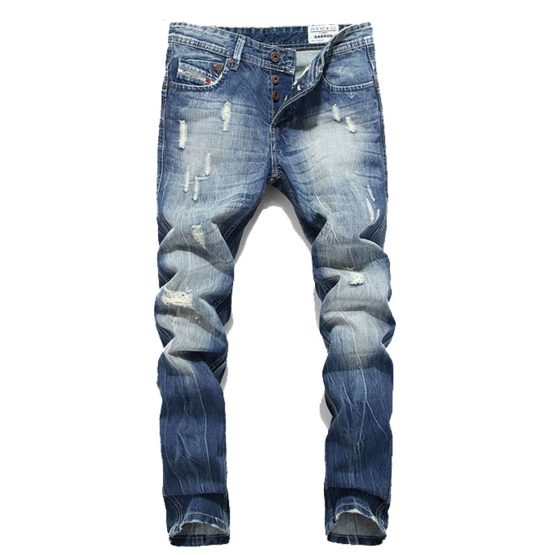 2017 Mens brand designer vintage straight cotton blue jeans pants Beck