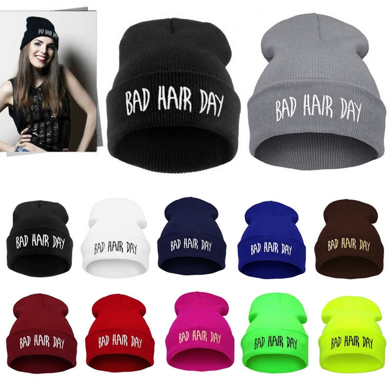 1PC Winter Bad Hair Day Beanie Cap Men Hat Beanie Knitted Hiphop Winte