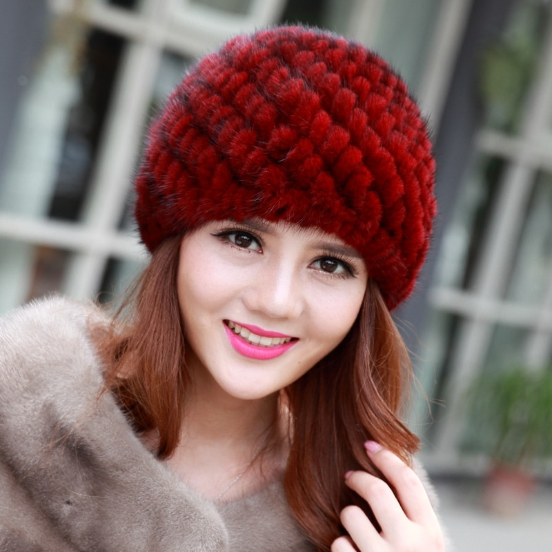 Fashion Real Mink Fur Hats For women Winter Hats For Lady Genuin Knitt