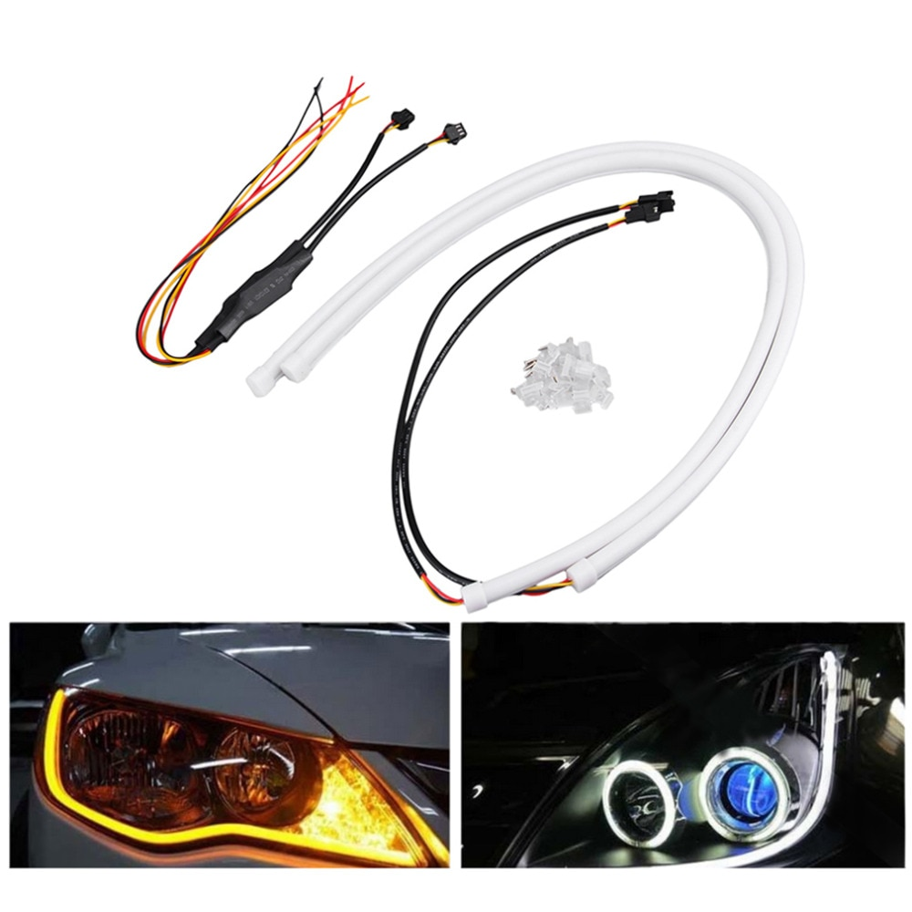 /pair 12V SMD 335 Flexible Soft Tube Guide Car LED Strip White DRL& Am