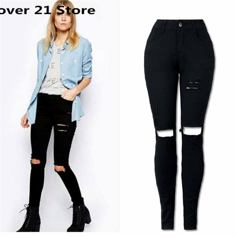 21 Hot Popular Chic Women Cool Ripped Knee Cut Skinny Long Jeans Pants