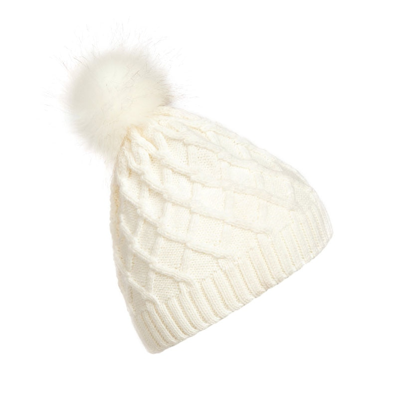 Crochet Knitted Warm Cotton Blends Ball Hat Solid Plaid Novelty Women