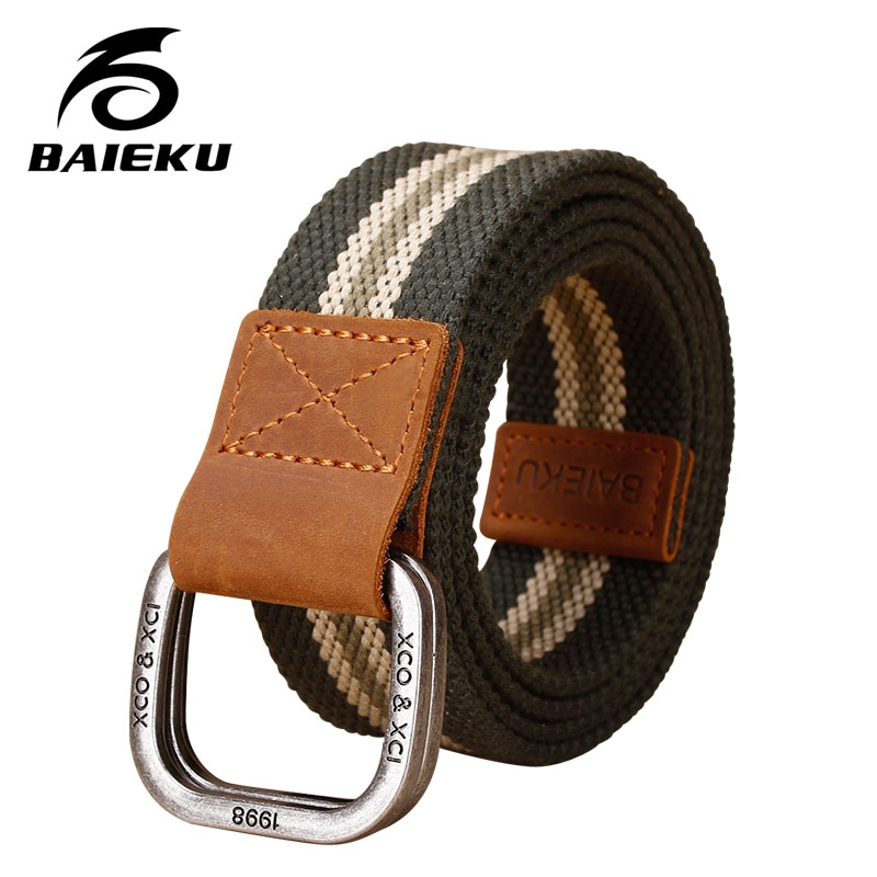 's double loop buckle belt young student canvas belt