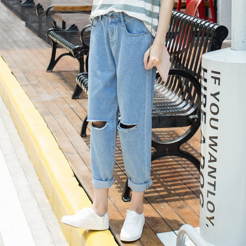 Holes Mid-Rise Ripped Boyfriend Jeans Women Denim Fashion Loose Capris