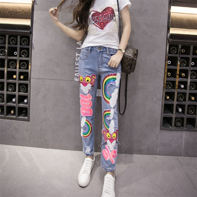 Fashion Rainbow Pattern Sequin Jeans Mujer Ripped Jean Boyfriend Jeans