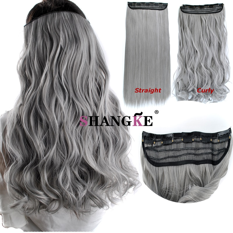 "24"" One Piece Straight grandma gray Clip In Hair Extensions Synthetic"