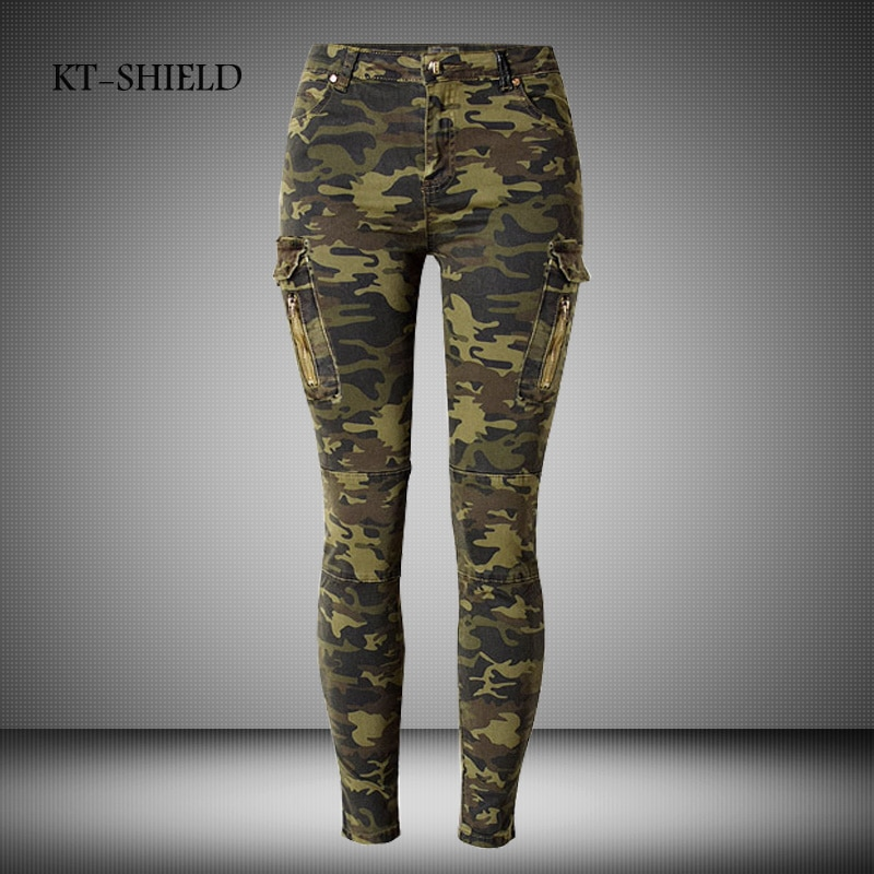 34-44 Camo Print Skinny Women Jeans Femme Camouflage Cropped Pencil Le