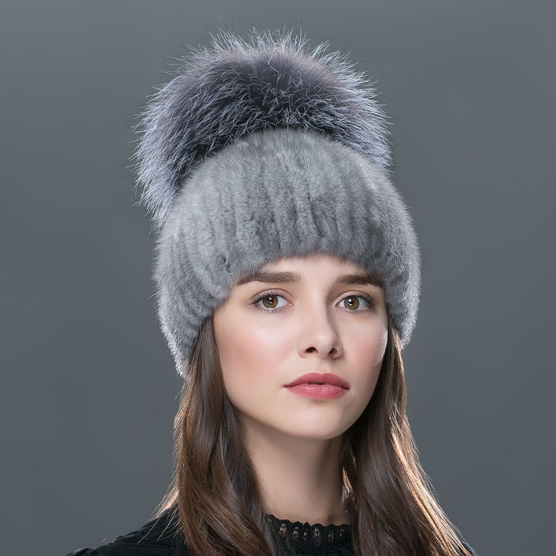 2017 Russia luxury top grade ladies fur caps fashion elegant beanies h