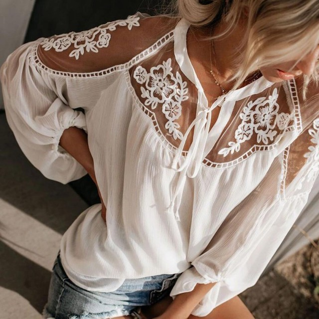 8022 European And American Women's Perspective Long-sleeved Shirt Lace Stitching Shirt Female