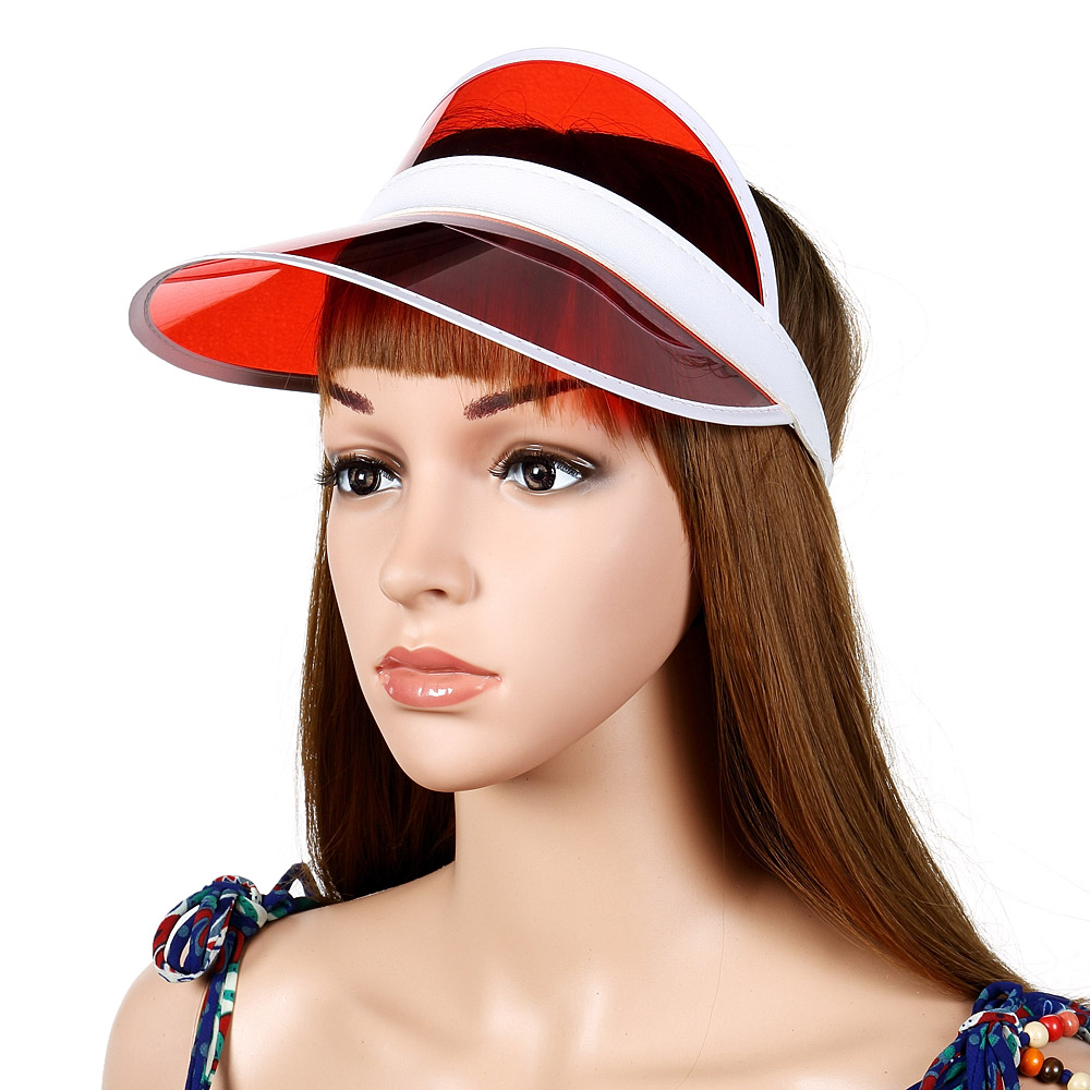Women Summer Transparent PVC Sun Protection Hat Outdoor Empty Top Cap with Sunshade Adjustable