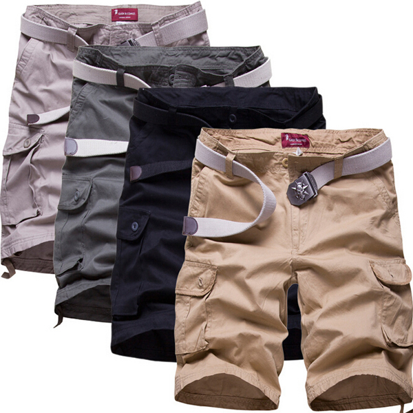 Mens Cotton Casual Summer Multi Pocket Beach Trousers Solid Color Cargo Shorts
