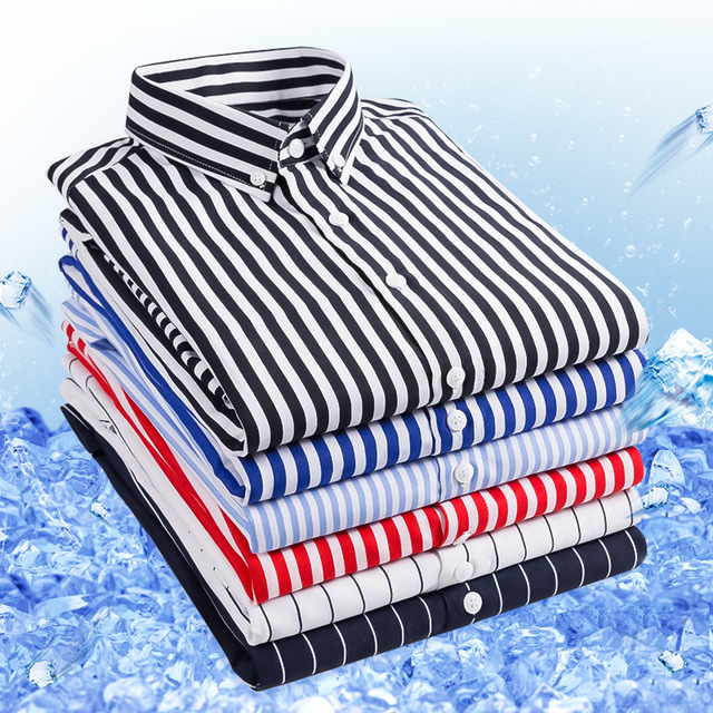 19 Season New Men's Seven-point Sleeve Striped Shirt Youth Casual Business Slim Handsome Shirt Male