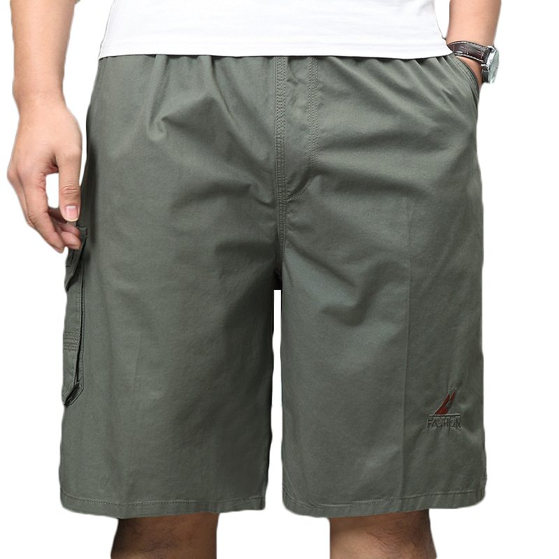 100% Cotton Mens Multi-Pocket Knee-Length Cargo Pants Breathable Wrinkle-Resistant Casual Shorts