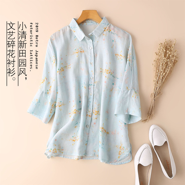 19086 (clothing) Shirt Collar Ramie Art T-shirt Female Niche Sweet Print Age-loss Loose Travel Women's Clothing